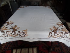 Hand embroidered tablecloth - embroidered with white etamines with cross stitches.