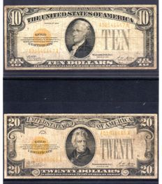 USA - 10 and 20 dollar Gold Certificate 1928 - Pick 400 and 401