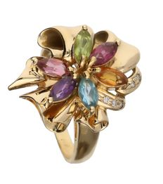 18 kt yellow gold ring set with various coloured stones and diamond 0.05 ct - Ring size 18.5 mm
