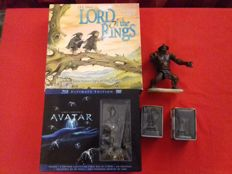 """Lot of 5 collectors pieces of films: game board and 3 figures """"Lord Of The Rings"""", Avatar ultimate edition Bluray Dvd with figure in box 2000's"""