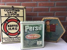Shop cans 3 pieces, Koffie Hag, Persil and van Melle toffees, 1st half of the 20th century