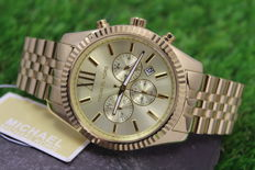 Michael Kors MK8281 Lexington Gold Plated Mens Chronograph Watch - New & Mint condition