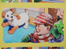 McNeill, Hugh - 4x Original page in colour - Paddy Paws the Puppy - (1966)