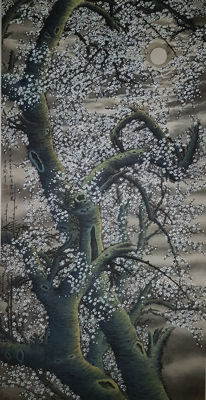 "A very rare hand-painted scroll painting ""Plum under the moon.""《月梅》 - China - late 20th century"