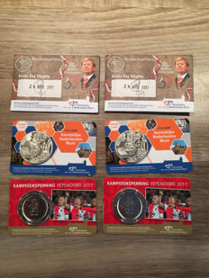 """Netherlands - medal """"Feijenoord Champion 2017"""" and """"450 years Royal Mint 2017"""" + 10 euro 2017 """"Birthday"""" (in total 6 pieces) in coin cards."""
