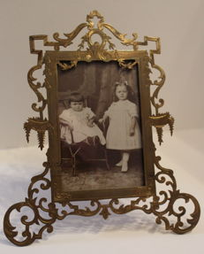 Brass richly decorated photo frame-Belgium-ca 1910