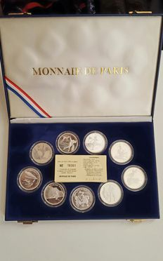 "France - Monnaie de Paris - 100 Francs 1989/1991 - Case of 9 ""Albertville Olympics 92"" coins - Silver"