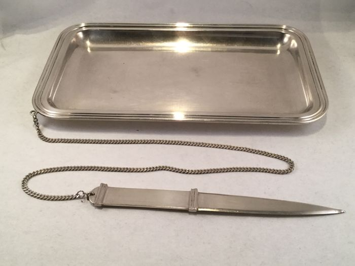 Silver desk utensils tray with letter opener on a chain - Bellotto - Padua - Italy