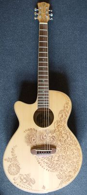 New Luna Henna Oasis S, Solid Spruce top, left handed - electro-acoustic
