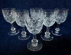 6 wine glasses in Baccarat crystal, model Harfleur - signed, France, early 20th century