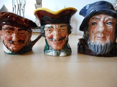 "3 small beer mugs - Pitchers from the brand ""Royal Doulton"" representing Dick Turpin - Francis Drake - Rip Van Winkle"