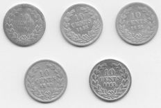 The Netherlands – 10 cent coins 1849/1862, Willem II and III (5 different ones) – silver