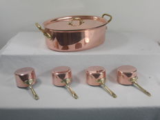 Large heavy copper oval pan with lid - 4 copper sauce pans - heavy copper - 4.5 kilos