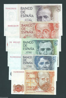 Spain - 5 banknotes of 200 to 5,000 pesetas - Series 9A - All replacements