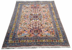 Pictorial Persian Silk & Wool Hand Knotted Area Rug 186 cm x 135 cm