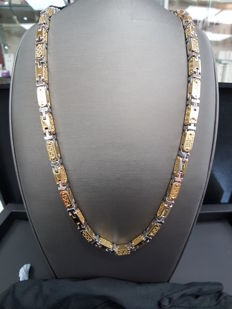 18ct Two Tone Yellow & White Gold Designer Style Chain, Length 60cm