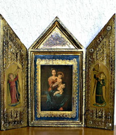 Beautiful religious triptych, begin 19th century, Italy