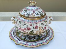 A Vintage Large set of Pottery Hand painted Soup Tureen and Platter