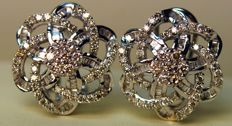 Earrings in 18 kt gold with diamonds totalling 1.40 ct, colour: H-I, clarity: VS Dazzling shine — measurements: 25.00 × 25.00 mm — 6.10 g