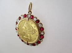 18 kt Gold Pendant with coin of 900 mm // Diamonds (1.43 ct) // Rubies (1.69 ct)