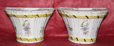 French Faience - Pair of flower vases