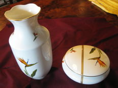 Limoges porcelain, André Line - Candy box + flower vase