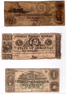 USA - Lot of dollars issued by private banks or mining companies, 13 different banknotes.