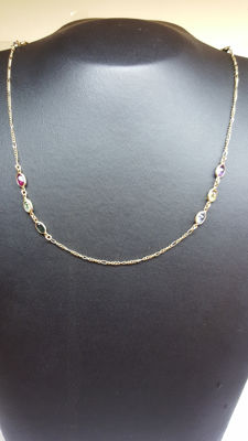 14 kt yellow gold women's rainbow necklace set with various stones, 46 cm.