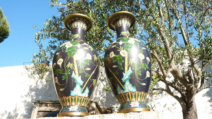 Two cloisonné vases - China - second half of the 20th century.