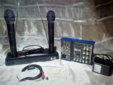 Set consisting of 2 wireless microphones with mixer -extreme-