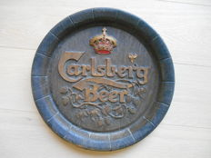 Advertising sign for Carlsberg in the shape of a beer barrel lid - 1980
