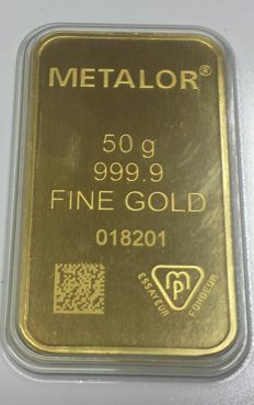 Gold ingot, 50 grams, Metalor Switzerland with certificate