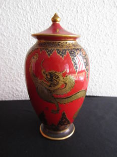 Vintage Carlton Ware Art Deco vase with an Eastern dragon design
