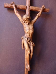 Monumental crucifix made of oak wood - Brussels, Belgium - mid 19th century