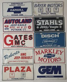 10 Advertising License Plates of US car distributors