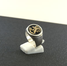 925 silver ring with 14kt gold - size 19,7mm