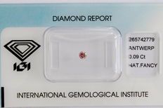 Natural Fancy Pink Diamond 0.09 ct  with IGI Certified