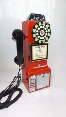 Crosley 1950's Classic Pay Phone - Red - Replica - push button.