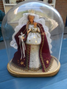 Wax statue - Madonna with child - under bell jar - Belgium - mid 20th century.