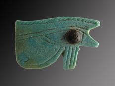 Egyptian faience Horus eye (Wedjat) amulet with applied iris - 29 mm