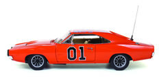 """Dukes of Hazzard """"General Lee"""" Autoworld - Scale 1/18 - With the forbidden """"Confederation Flag"""" and antenna"""