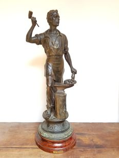 Large sculpture in bronzed zamak 'Le Travail' - France - 1890
