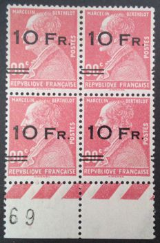 France 1928 - Rare airmail, Berthelot, block of 4, displaced overprint attached to a normal stamp, signed Brun and Thiaude with certificate - Yvert no. 3d.