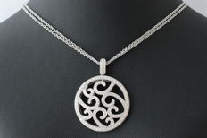 White gold necklace with a large, elegant round pendant set with diamonds
