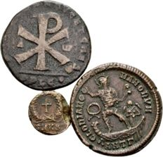 Roman Empire – Lot of Three AE Roman Coins – Magnentius, Theodosius I and II 350-450 A.D.