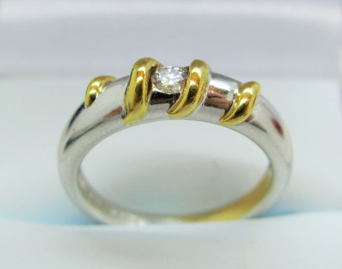 Diamond 18K White and Yellow Gold Ring- Size M 1/2 (52 3/4)