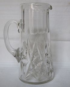 Jug / pitcher / water carafe in Baccarat crystal, model Harfleur - signed, France, early 20th century