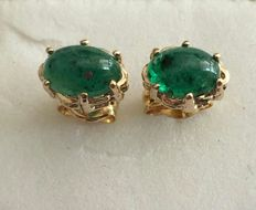 18 kt/750 yellow gold earrings with oval cut emeralds of 1.18 ct – Earring length 15 mm and no reserve, from 1 euro