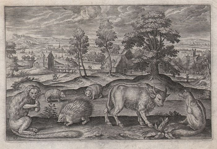 Adriaen Collaert (1560 - 1618) - Flemish landscape with several animals - first state - ca.1597