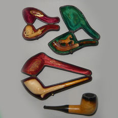 Lot 4 old Meerschaum pipes